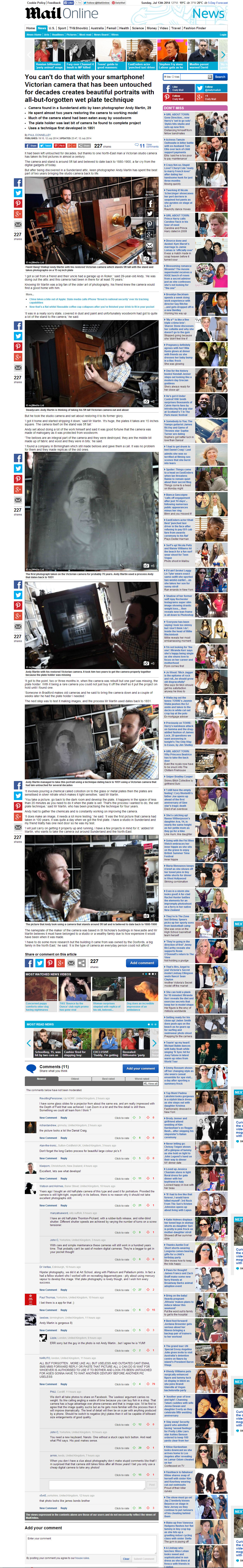 Andy Martin - Daily Mail article on Victorian Studio Camera - June 2014
